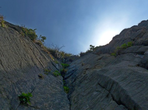 Looking up cliff face